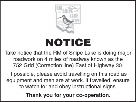 RM of Snipe Lake Road Work