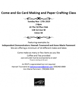 Card Making Class @ Plus 50 Club