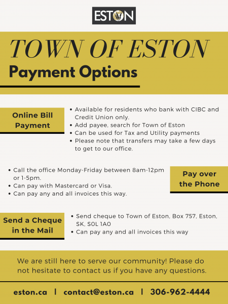Town of Eston Payment Options