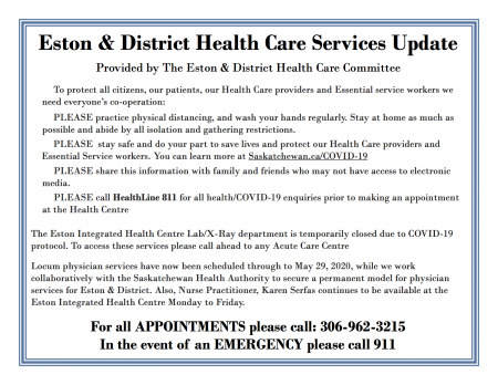 Eston & District Health Care Services Update